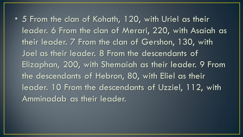 11 Then David summoned the priests, Zadok and Abiathar, and these Levite leaders: Uriel, Asaiah, Joel, Shemaiah, Eliel, and Amminadab.