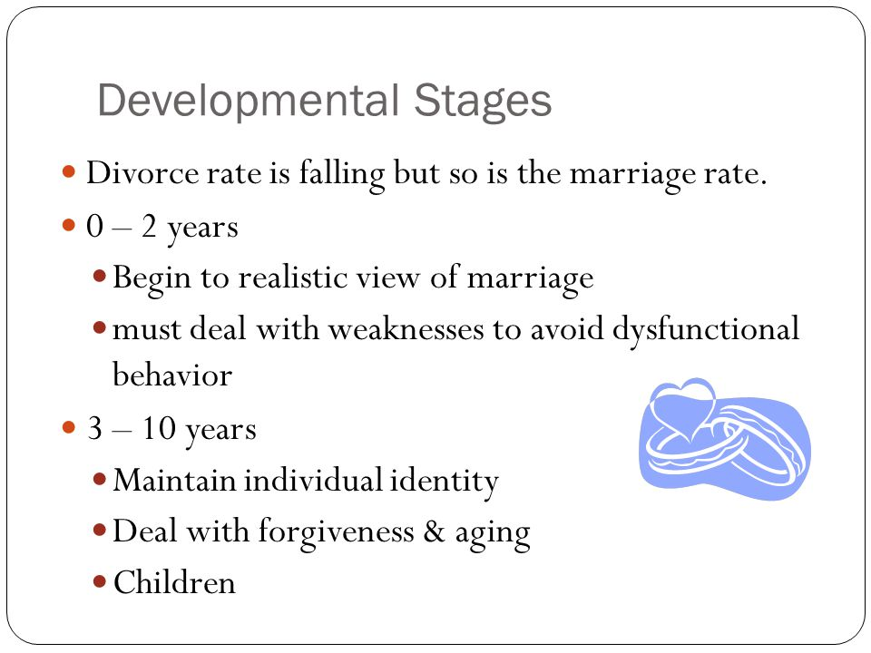 Developmental Stages Divorce rate is falling but so is the marriage rate. 0 – 2 years Begin to realistic view of marriage must deal with weaknesses to