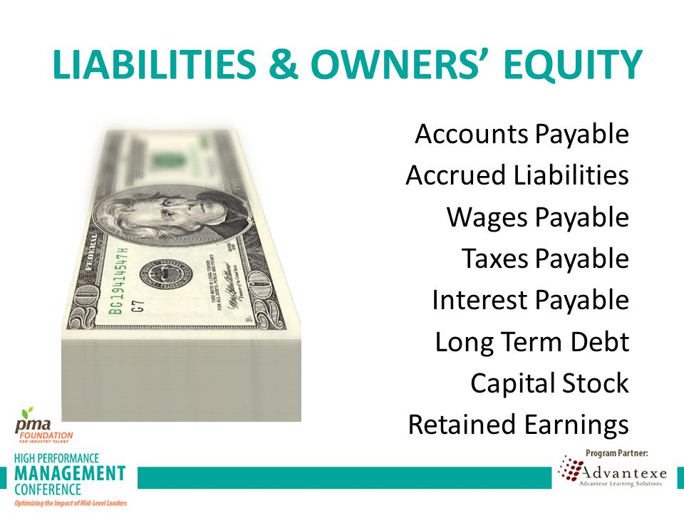 Accounts Payable Accrued Liabilities Wages Payable Taxes Payable Interest Payable Long Term Debt Capital Stock Retained Earnings LIABILITIES & OWNERS' EQUITY