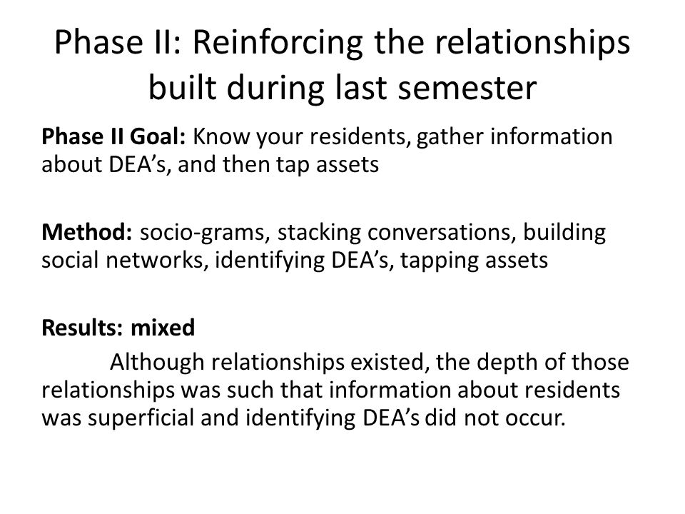 Phase II: Reinforcing the relationships built during last semester Phase II Goal: Know your residents, gather information about DEA's, and then tap as
