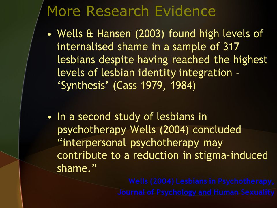 More Research Evidence Wells & Hansen (2003) found high levels of internalised shame in a sample of 317 lesbians despite having reached the highest levels of lesbian identity integration - 'Synthesis' (Cass 1979, 1984) In a second study of lesbians in psychotherapy Wells (2004) concluded interpersonal psychotherapy may contribute to a reduction in stigma-induced shame. Wells (2004) Lesbians in Psychotherapy, Journal of Psychology and Human Sexuality