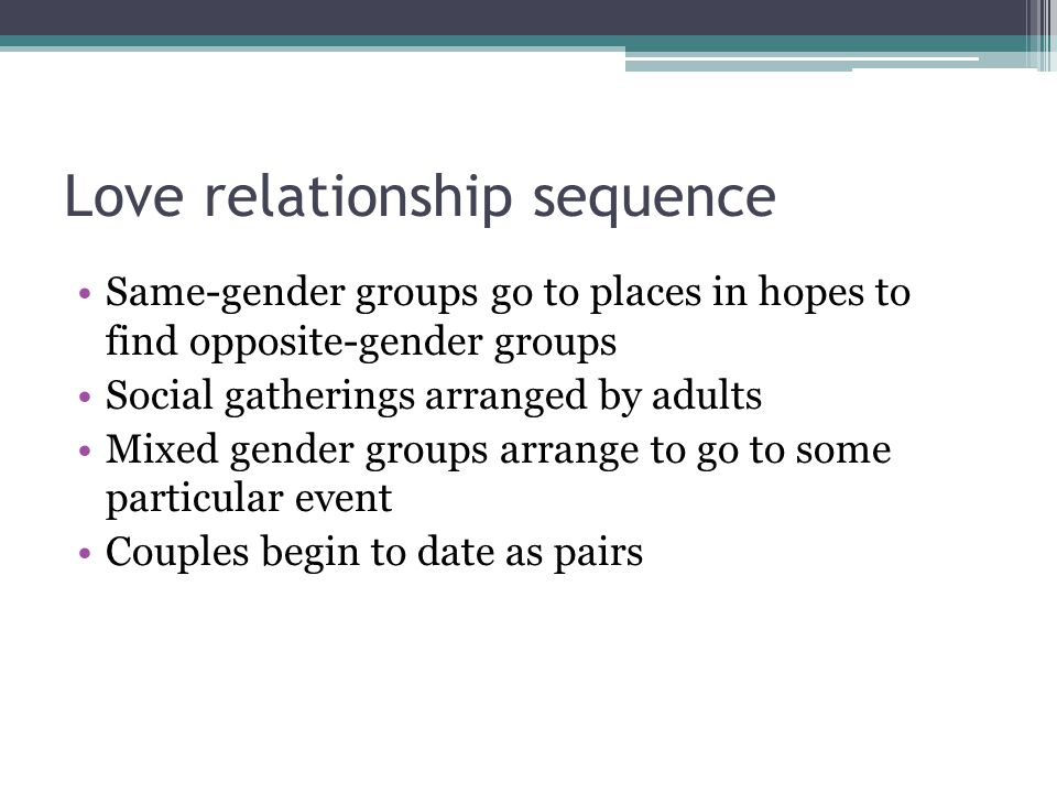 Love relationship sequence Same-gender groups go to places in hopes to find opposite-gender groups Social gatherings arranged by adults Mixed gender groups arrange to go to some particular event Couples begin to date as pairs