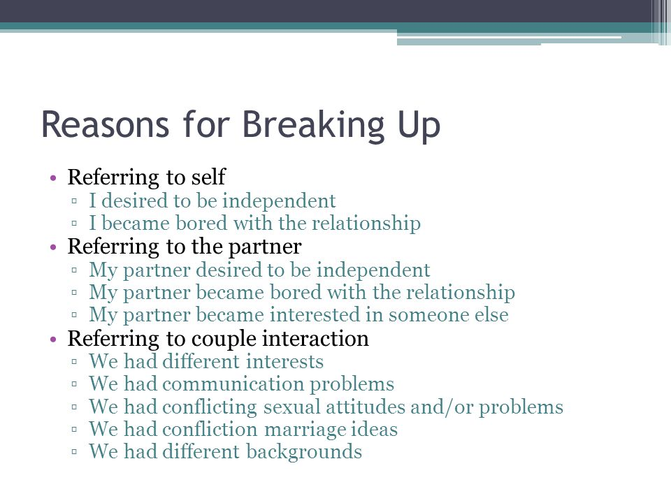Reasons for Breaking Up Referring to self ▫I desired to be independent ▫I became bored with the relationship Referring to the partner ▫My partner desired to be independent ▫My partner became bored with the relationship ▫My partner became interested in someone else Referring to couple interaction ▫We had different interests ▫We had communication problems ▫We had conflicting sexual attitudes and/or problems ▫We had confliction marriage ideas ▫We had different backgrounds