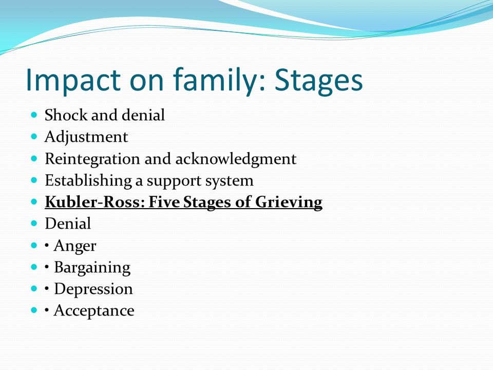 Impact on family: Stages Shock and denial Adjustment Reintegration and acknowledgment Establishing a support system Kubler-Ross: Five Stages of Grieving Denial Anger Bargaining Depression Acceptance