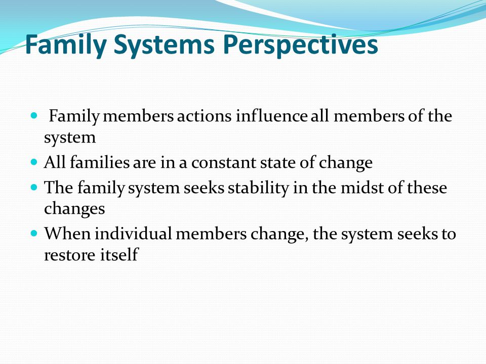 Family Systems Perspectives Family members actions influence all members of the system All families are in a constant state of change The family system seeks stability in the midst of these changes When individual members change, the system seeks to restore itself