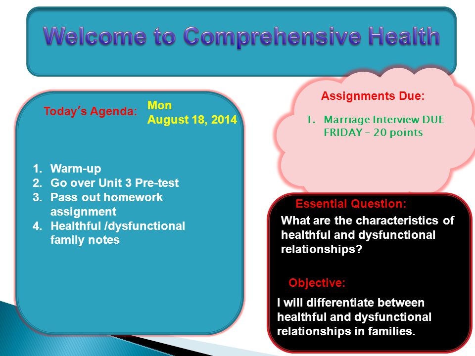 Today's Agenda: 1.Warm-up 2.Go over Unit 3 Pre-test 3.Pass out homework assignment 4.Healthful /dysfunctional family notes Mon August 18, 2014 Assignments Due: What are the characteristics of healthful and dysfunctional relationships.