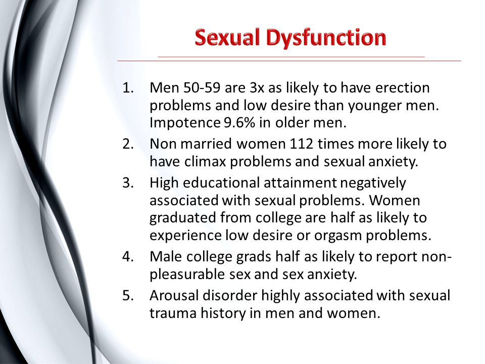 1.Men 50-59 are 3x as likely to have erection problems and low desire than younger men. Impotence 9.6% in older men. 2.Non married women 112 times mor