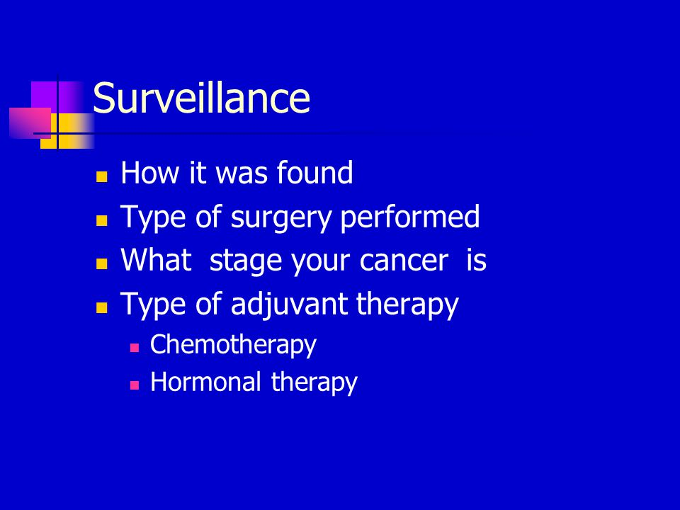 Objectives Review recommendations for surveillance type of surgery/ stage of your cancer Review opportunities for wellness to help prevent recurrence of breast cancer Survivorship goals Prevention tips