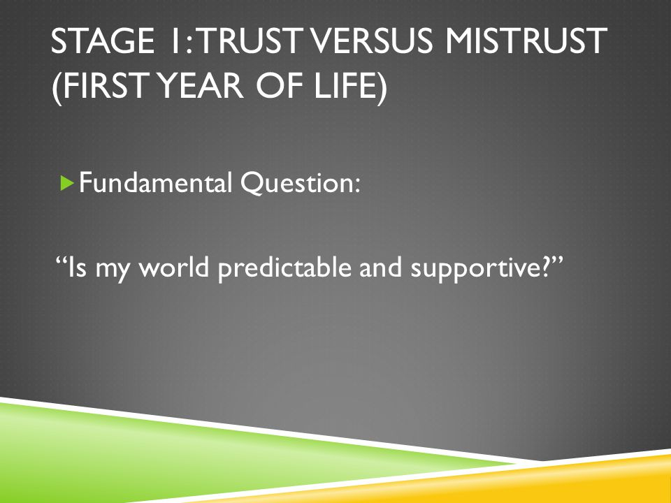 STAGE 1: TRUST VERSUS MISTRUST (FIRST YEAR OF LIFE)  Fundamental Question: Is my world predictable and supportive