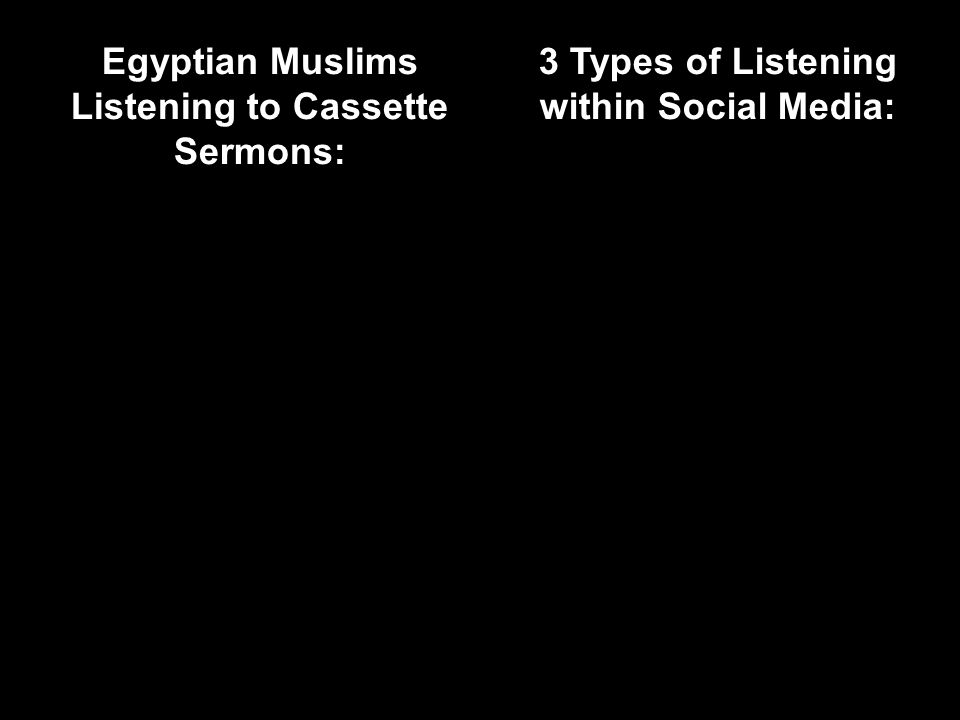 Egyptian Muslims Listening to Cassette Sermons: 3 Types of Listening within Social Media: