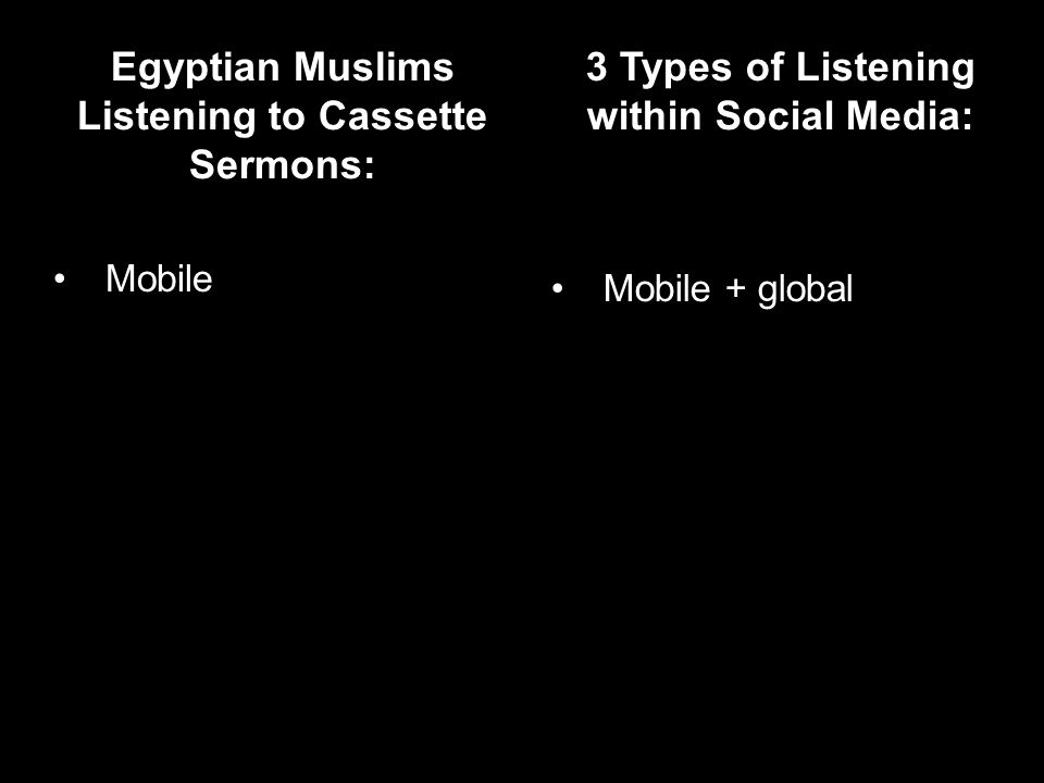 Egyptian Muslims Listening to Cassette Sermons: Mobile 3 Types of Listening within Social Media: Mobile + global