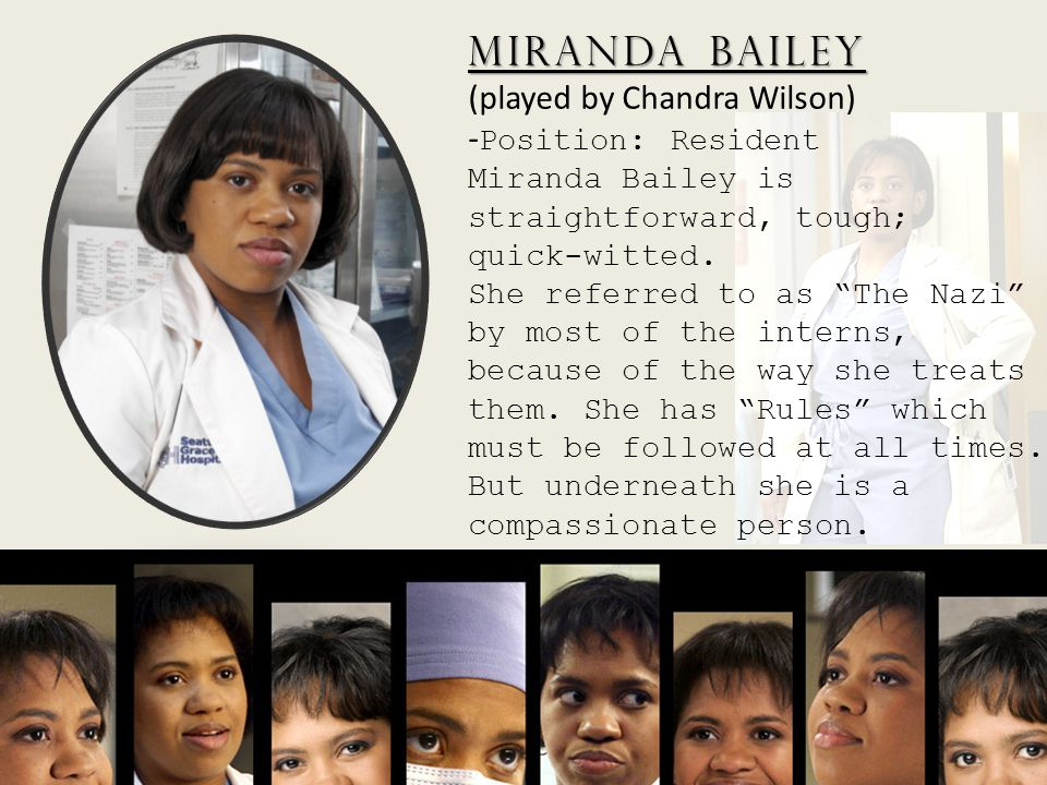 Miranda Bailey Miranda Bailey (played by Chandra Wilson) - Position: Resident Miranda Bailey is straightforward, tough; quick-witted. She referred to