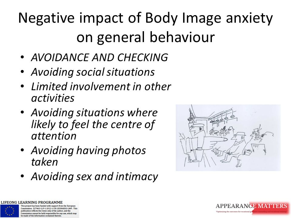 Negative impact of Body Image anxiety on general behaviour AVOIDANCE AND CHECKING Avoiding social situations Limited involvement in other activities Avoiding situations where likely to feel the centre of attention Avoiding having photos taken Avoiding sex and intimacy
