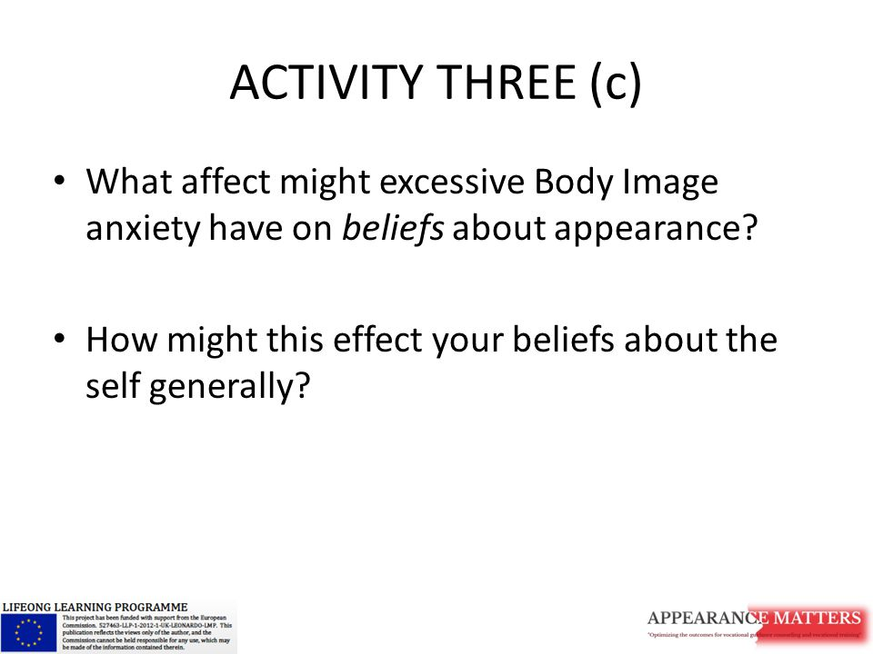 ACTIVITY THREE (c) What affect might excessive Body Image anxiety have on beliefs about appearance.