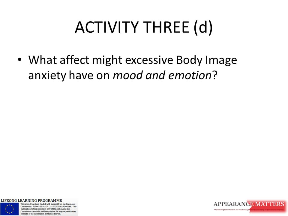 ACTIVITY THREE (d) What affect might excessive Body Image anxiety have on mood and emotion