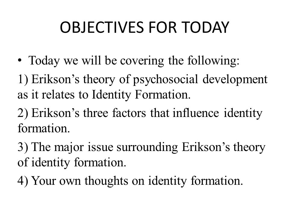 Erikson's Theory of Psychosocial Development (Review) Erikson's theory consists of 8 stages.