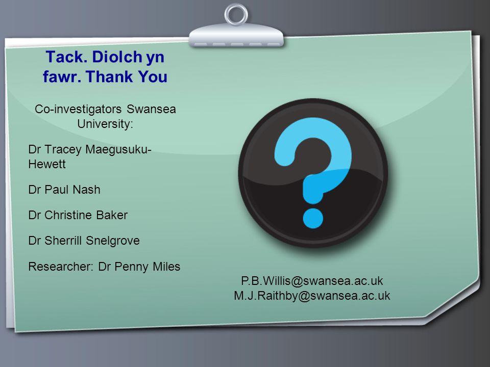 Tack. Diolch yn fawr. Thank You Co-investigators Swansea University: Dr Tracey Maegusuku- Hewett Dr Paul Nash Dr Christine Baker Dr Sherrill Snelgrove