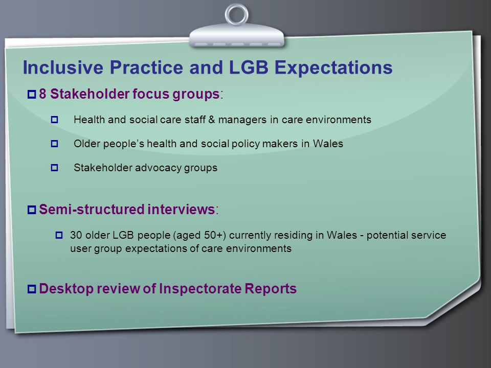 Inclusive Practice and LGB Expectations  8 Stakeholder focus groups:  Health and social care staff & managers in care environments  Older people's health and social policy makers in Wales  Stakeholder advocacy groups  Semi-structured interviews:  30 older LGB people (aged 50+) currently residing in Wales - potential service user group expectations of care environments  Desktop review of Inspectorate Reports