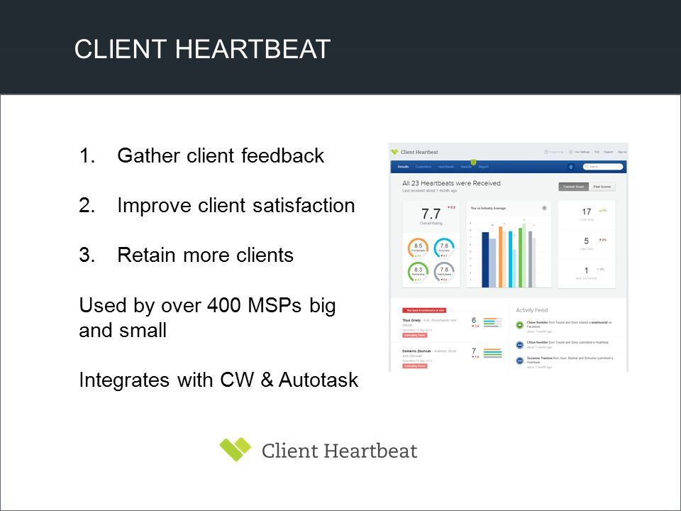 CLIENT HEARTBEAT 1.Gather client feedback 2.Improve client satisfaction 3.Retain more clients Used by over 400 MSPs big and small Integrates with CW &
