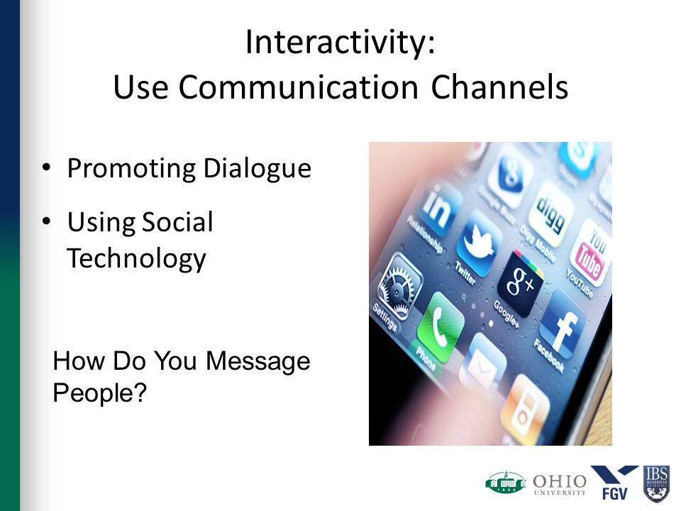 Interactivity: Use Communication Channels Promoting Dialogue Using Social Technology How Do You Message People?