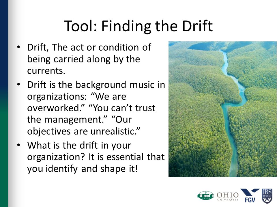 Tool: Finding the Drift Drift, The act or condition of being carried along by the currents.