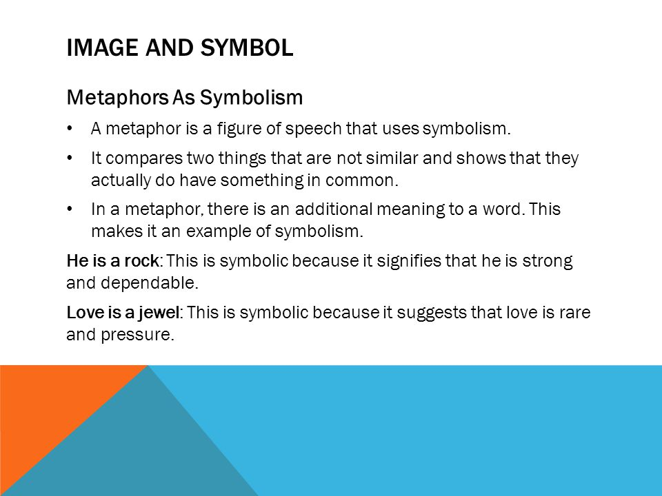 IMAGE AND SYMBOL Metaphors As Symbolism A metaphor is a figure of speech that uses symbolism.