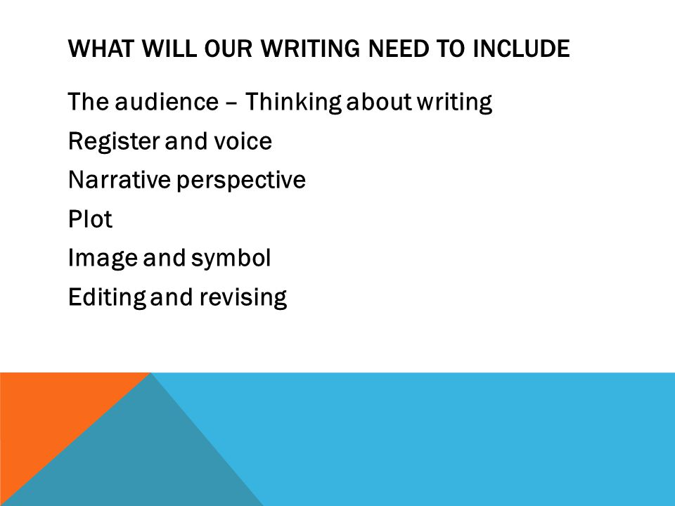 WHAT WILL OUR WRITING NEED TO INCLUDE The audience – Thinking about writing Register and voice Narrative perspective Plot Image and symbol Editing and