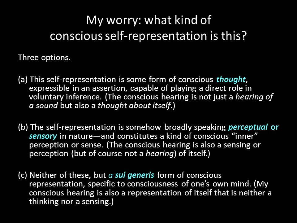My worry: what kind of conscious self-representation is this? Three options. (a) This self-representation is some form of conscious thought, expressib