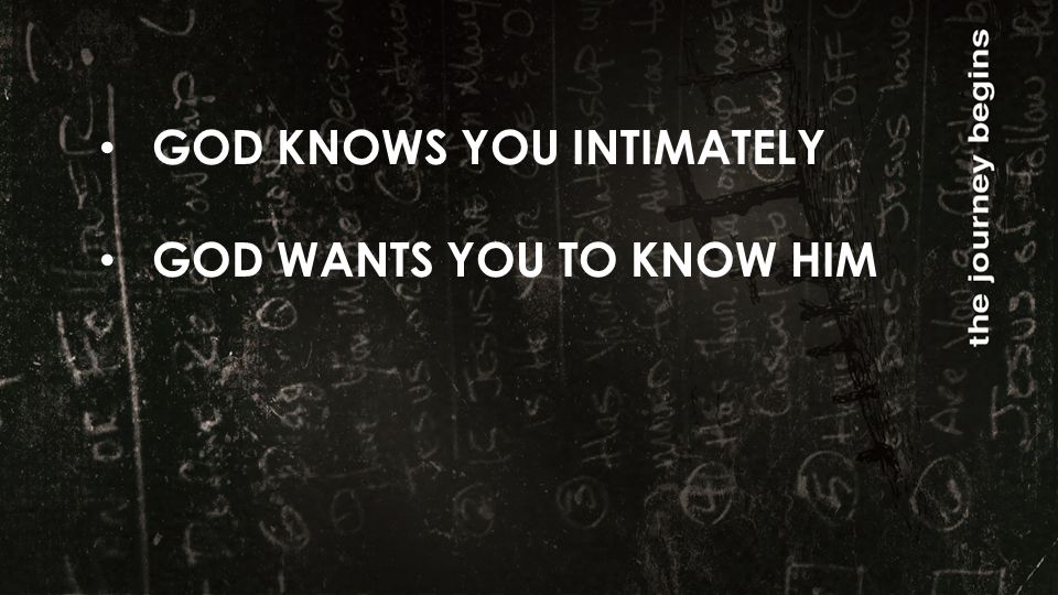 GOD KNOWS YOU INTIMATELY GOD WANTS YOU TO KNOW HIM