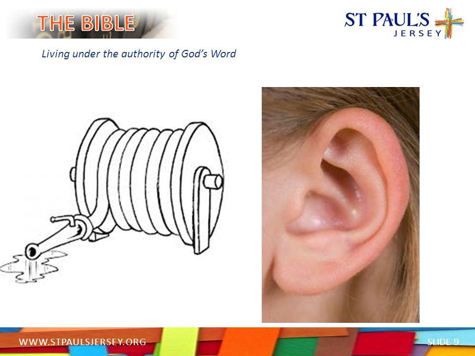 SLIDE 20 WWW.STPAULSJERSEY.ORG Living under the authority of God's Word Passages to read: John 3: 16 John 14: 18-21 Psalm 139: 14-16 1 John 4: 16 Matthew 7: 11 Jeremiah 32: 40 Exodus 19: 5 Psalm 37: 4