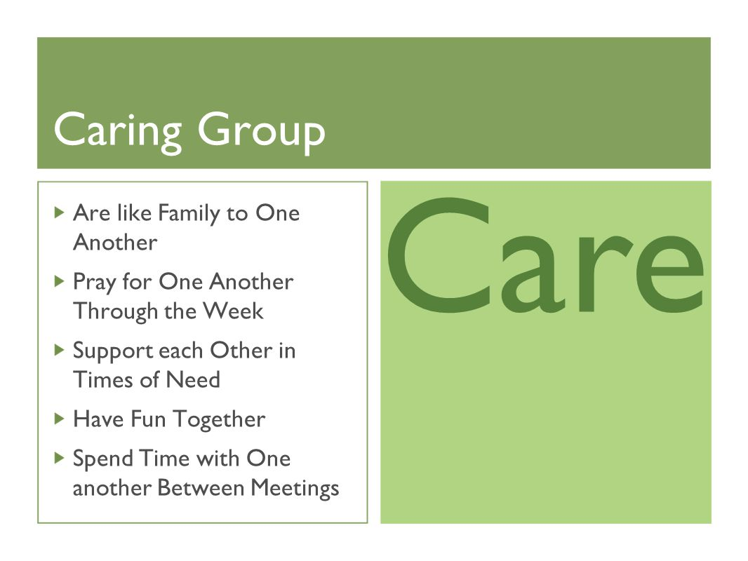 Caring Group Are like Family to One Another Pray for One Another Through the Week Support each Other in Times of Need Have Fun Together Spend Time with One another Between Meetings Care
