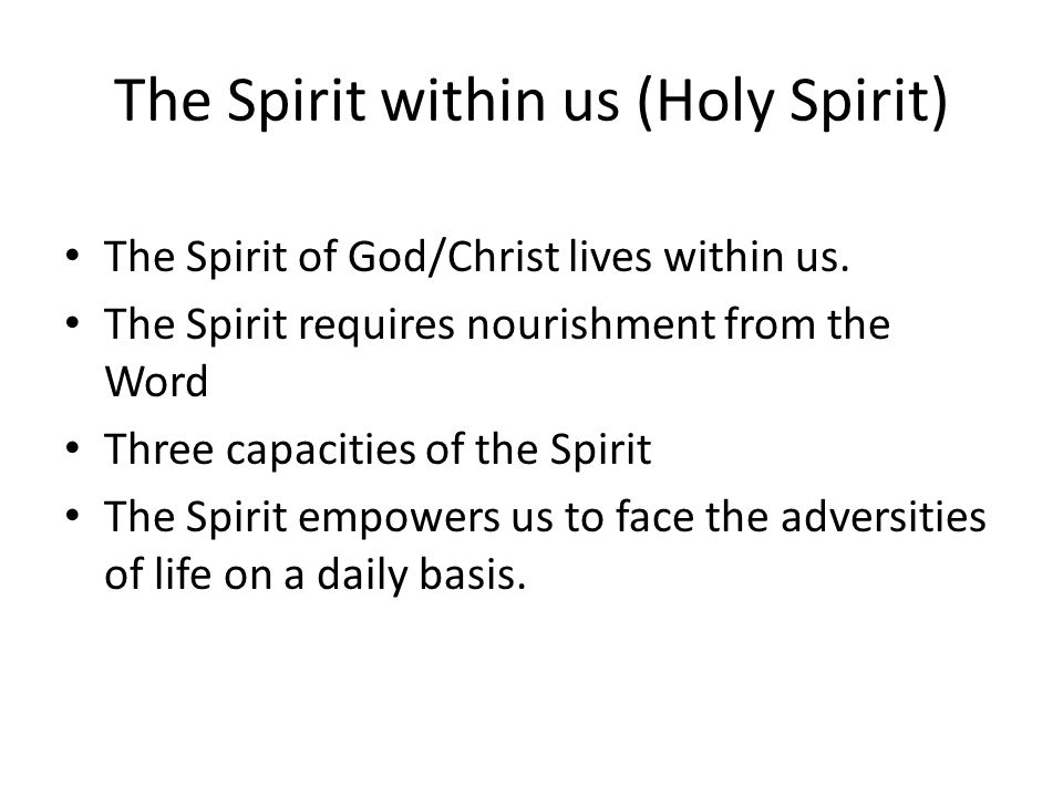The Spirit within us (Holy Spirit) The Spirit of God/Christ lives within us. The Spirit requires nourishment from the Word Three capacities of the Spi