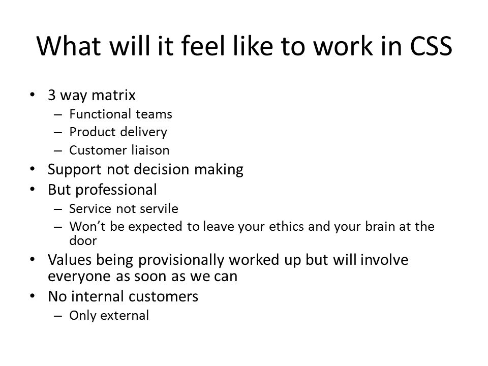 What will it feel like to work in CSS 3 way matrix – Functional teams – Product delivery – Customer liaison Support not decision making But professional – Service not servile – Won't be expected to leave your ethics and your brain at the door Values being provisionally worked up but will involve everyone as soon as we can No internal customers – Only external