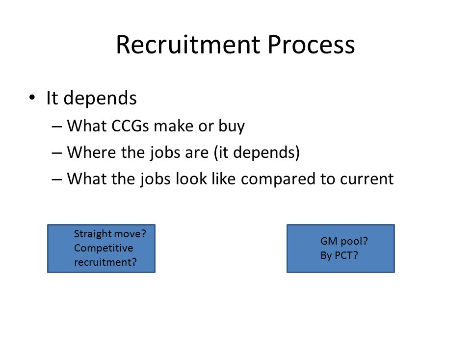 Recruitment Process It depends – What CCGs make or buy – Where the jobs are (it depends) – What the jobs look like compared to current Straight move?
