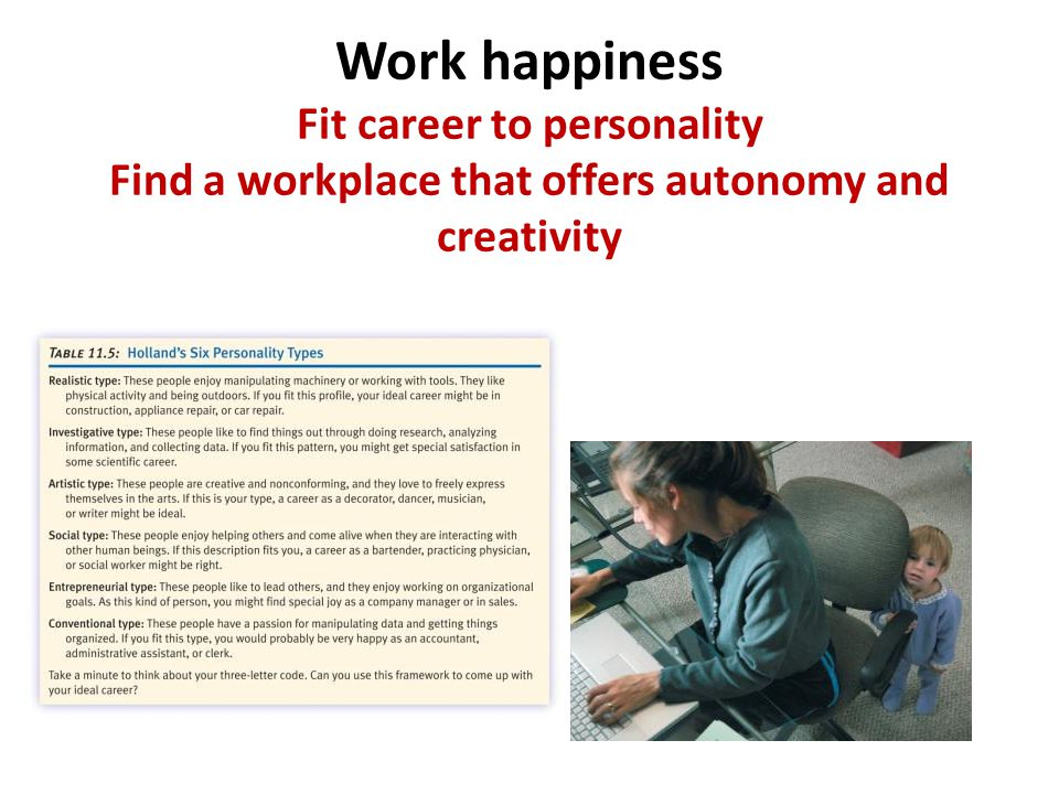 Work happiness Fit career to personality Find a workplace that offers autonomy and creativity