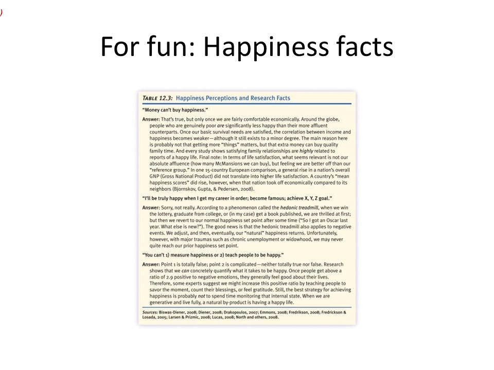 For fun: Happiness facts )