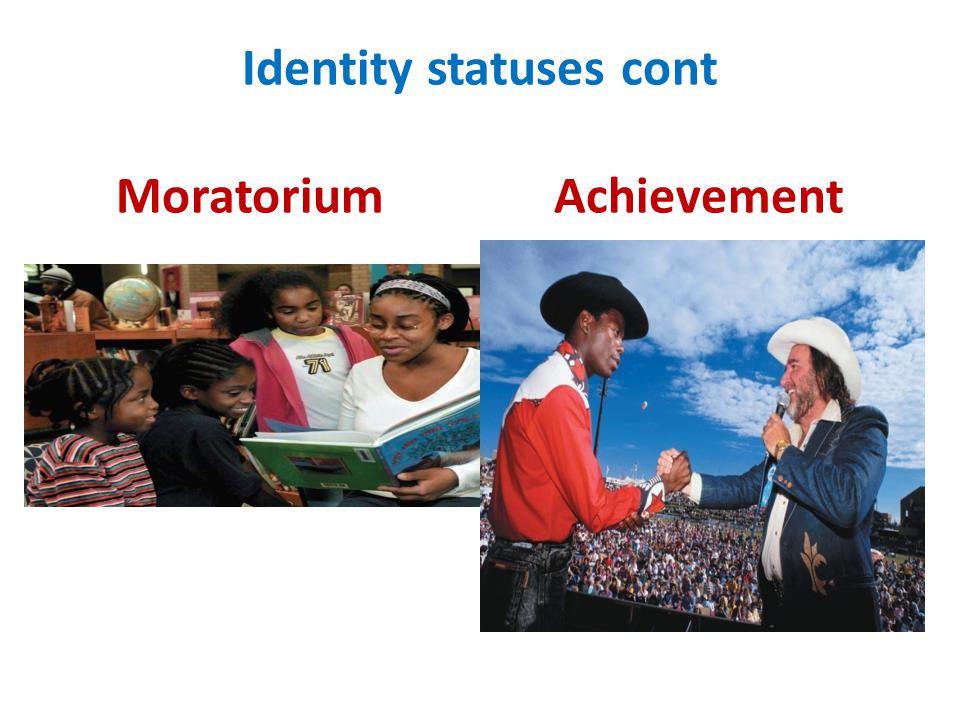 Identity statuses cont Moratorium Achievement