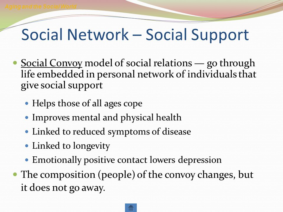 Social Network – Social Support Social Convoy model of social relations — go through life embedded in personal network of individuals that give social support Helps those of all ages cope Improves mental and physical health Linked to reduced symptoms of disease Linked to longevity Emotionally positive contact lowers depression The composition (people) of the convoy changes, but it does not go away.