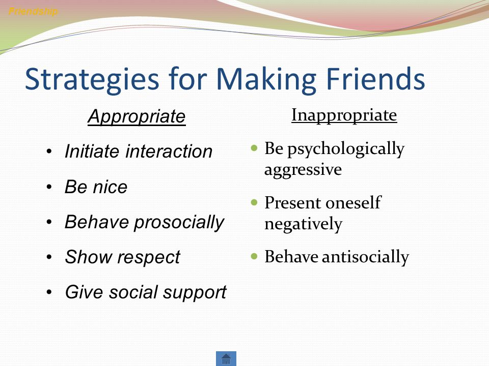 Strategies for Making Friends Inappropriate Be psychologically aggressive Present oneself negatively Behave antisocially Friendship Appropriate Initiate interaction Be nice Behave prosocially Show respect Give social support