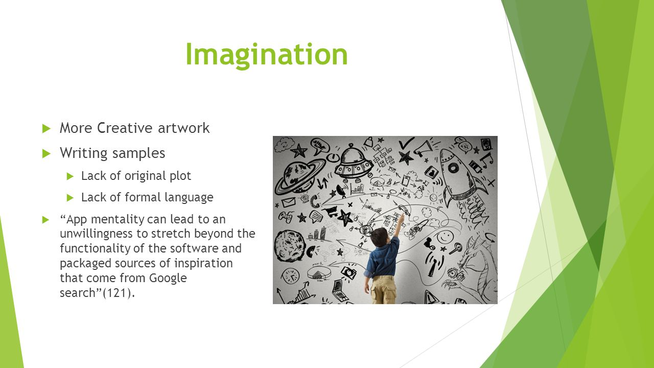 """Imagination  More Creative artwork  Writing samples  Lack of original plot  Lack of formal language  """"App mentality can lead to an unwillingness"""
