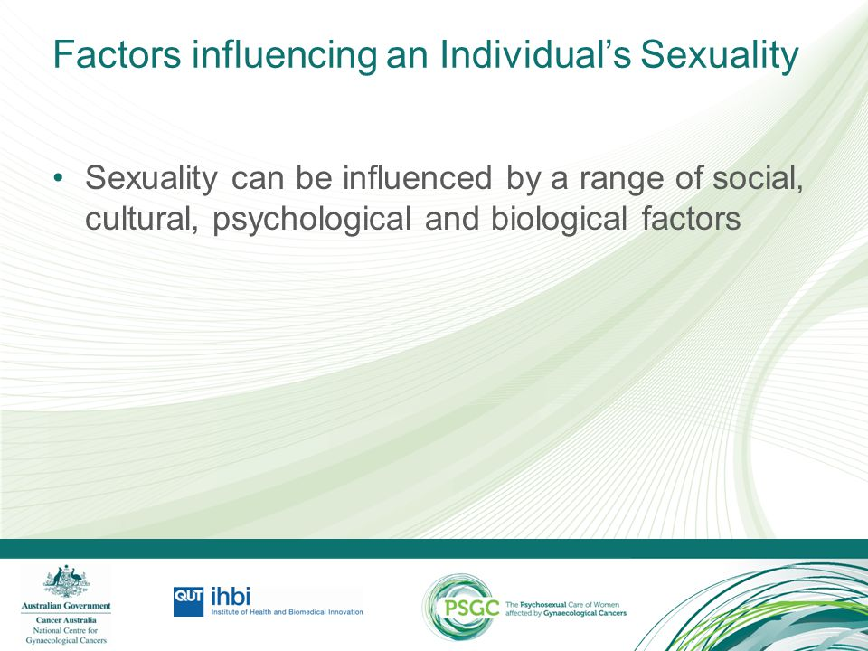 Activity: Factors influencing an Individual's Sexuality Identify clinical situations where you've cared for an individual from a different cultural group to your own.