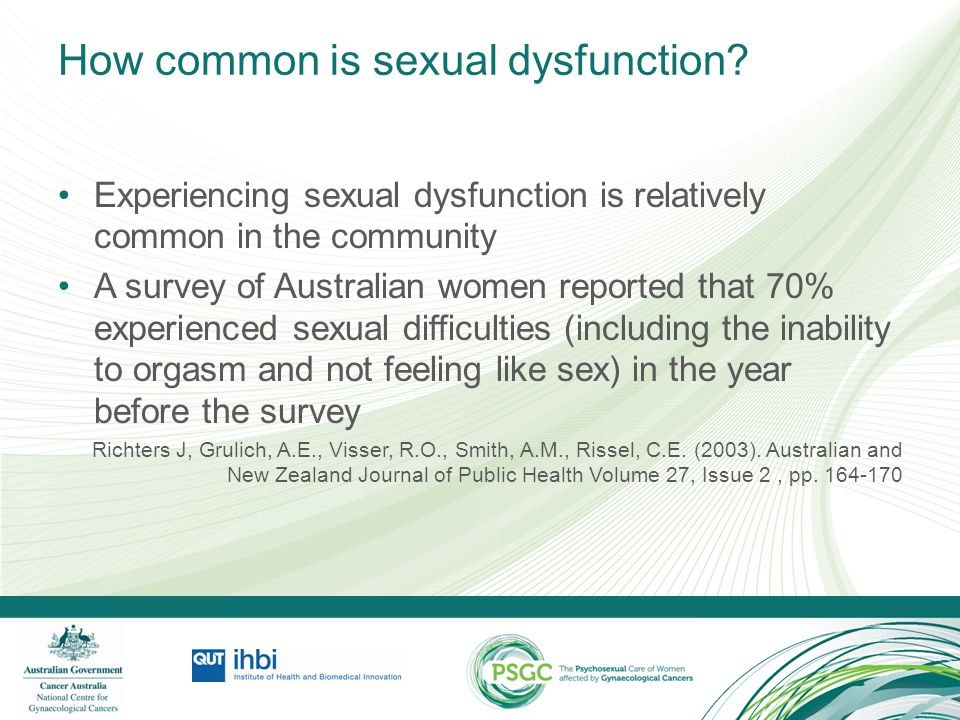 Identifying sexual dysfunction DSM-IV identifies the following male and female sexual and gender identity disorders, which can have organic or psychogenic causes: –sexual desire disorders –sexual arousal disorders –orgasmic disorders –sexual pain disorders –gender identity disorder –sexual dysfunction due to a medical condition –sexual dysfunction NOS (not otherwise specified)