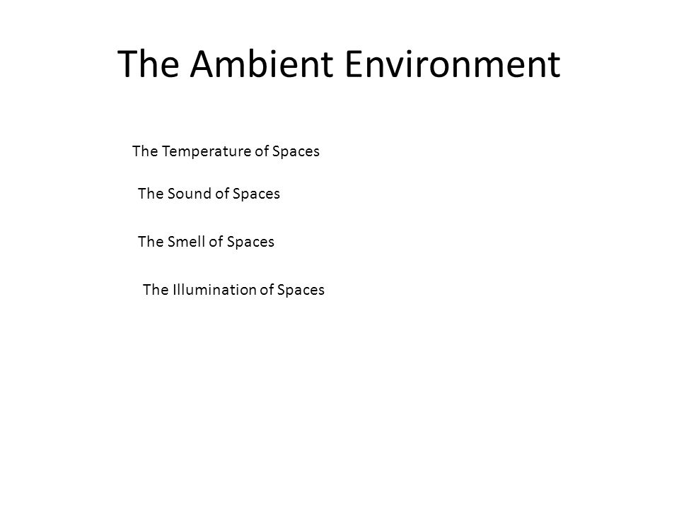 The Ambient Environment The Temperature of Spaces The Sound of Spaces The Smell of Spaces The Illumination of Spaces