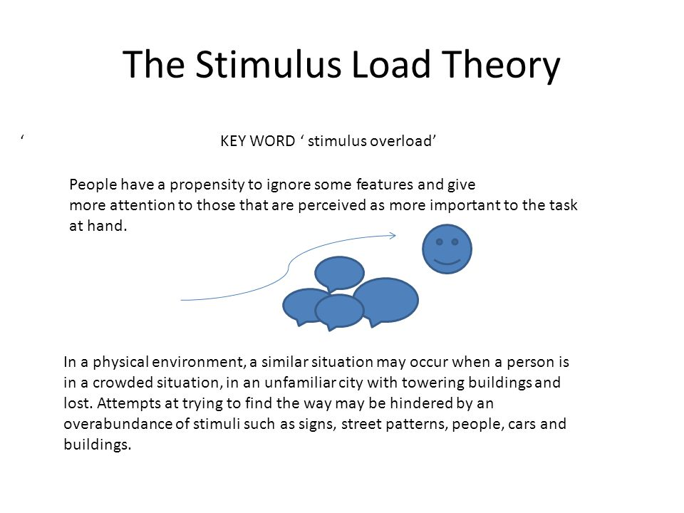 The Stimulus Load Theory In a physical environment, a similar situation may occur when a person is in a crowded situation, in an unfamiliar city with towering buildings and lost.