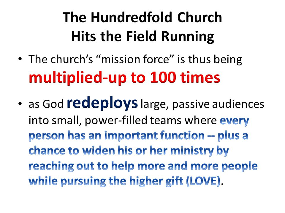 The Hundredfold Church Hits the Field Running