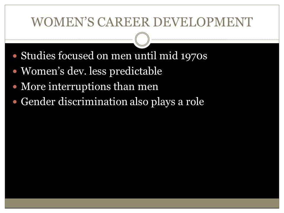 WOMEN'S CAREER DEVELOPMENT Studies focused on men until mid 1970s Women's dev. less predictable More interruptions than men Gender discrimination also
