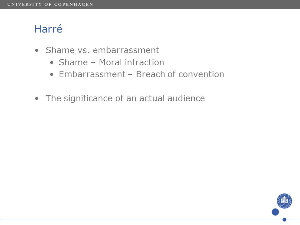 Harré Shame vs. embarrassment Shame – Moral infraction Embarrassment – Breach of convention The significance of an actual audience