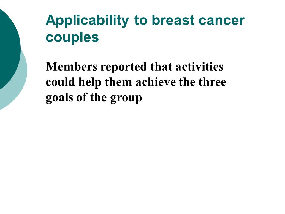 Applicability to breast cancer couples Members reported that activities could help them achieve the three goals of the group