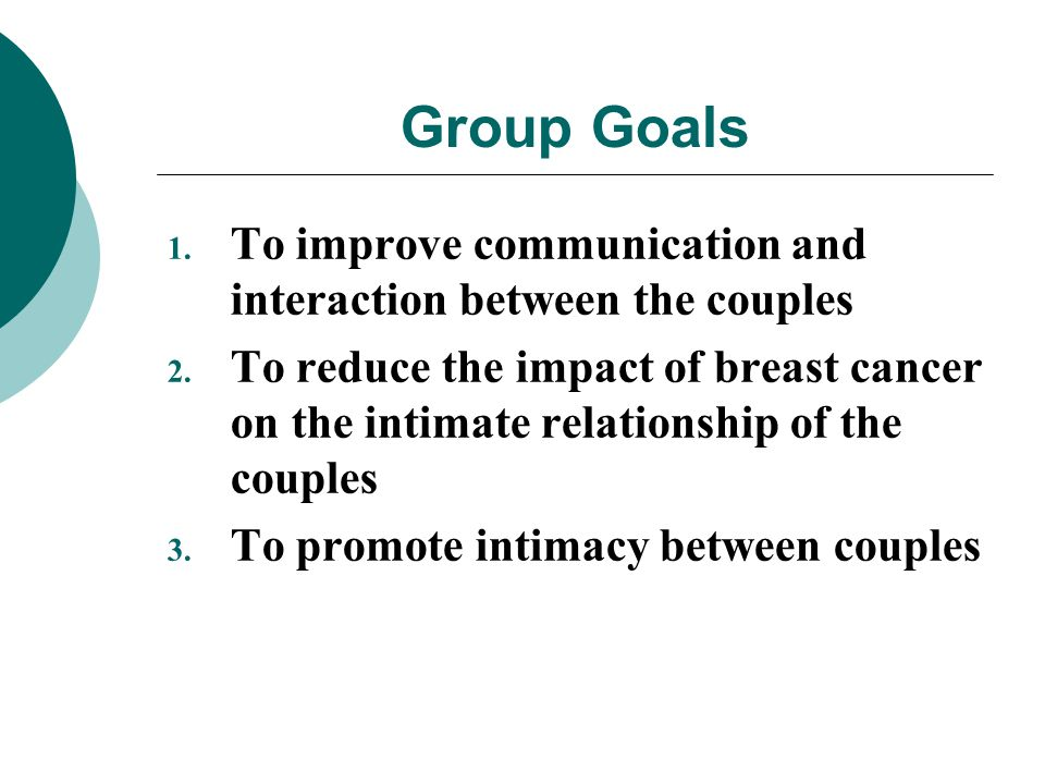 Group Goals 1. To improve communication and interaction between the couples 2. To reduce the impact of breast cancer on the intimate relationship of t