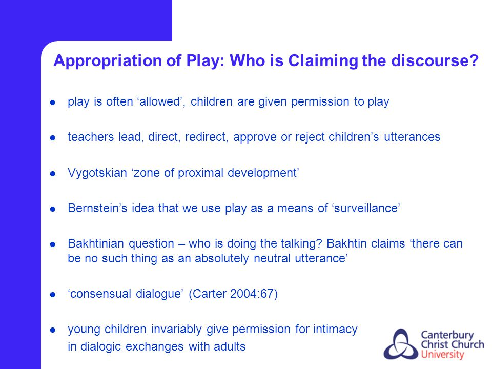 Appropriation of Play: Who is Claiming the discourse.